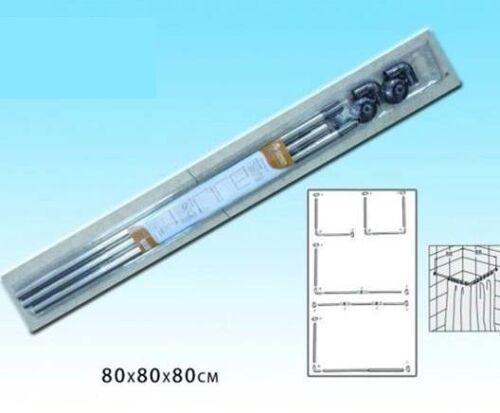 Bastone Asta Tenda Doccia Barra A U Tre Lati Angolare Alluminio 80x80x80cm dfh