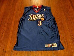 c51f7d0df Image is loading Authentic-Champion-NBA-Philadelphia-76ers-Allen-Iverson- Blue-