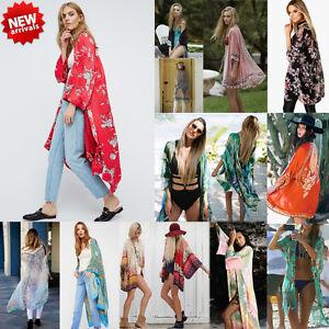 2a2a2beeaf7 Plus Size Fashion Women Summer Chiffon Floral Kimono Cardigan Shawl ...