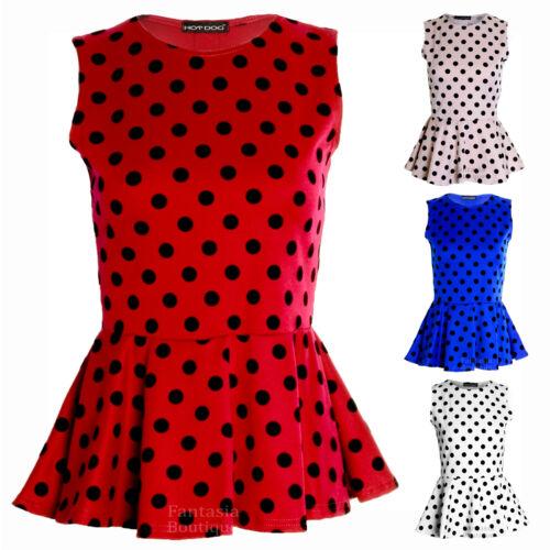 Womens Polka Dot Spot Print Frill Peplum Ladies Sleeveless Skater Vest Top 8-14