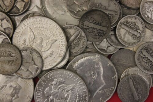 MAKE OFFER 1 Standard Pound 1964 Kennedy Mercury Roosevelt Junk Silver Coins
