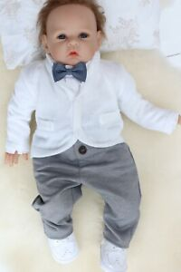 Details Zu Baby Boy White Outfit Smart Set Soft Cardigan Wedding Suit Christening Baptism