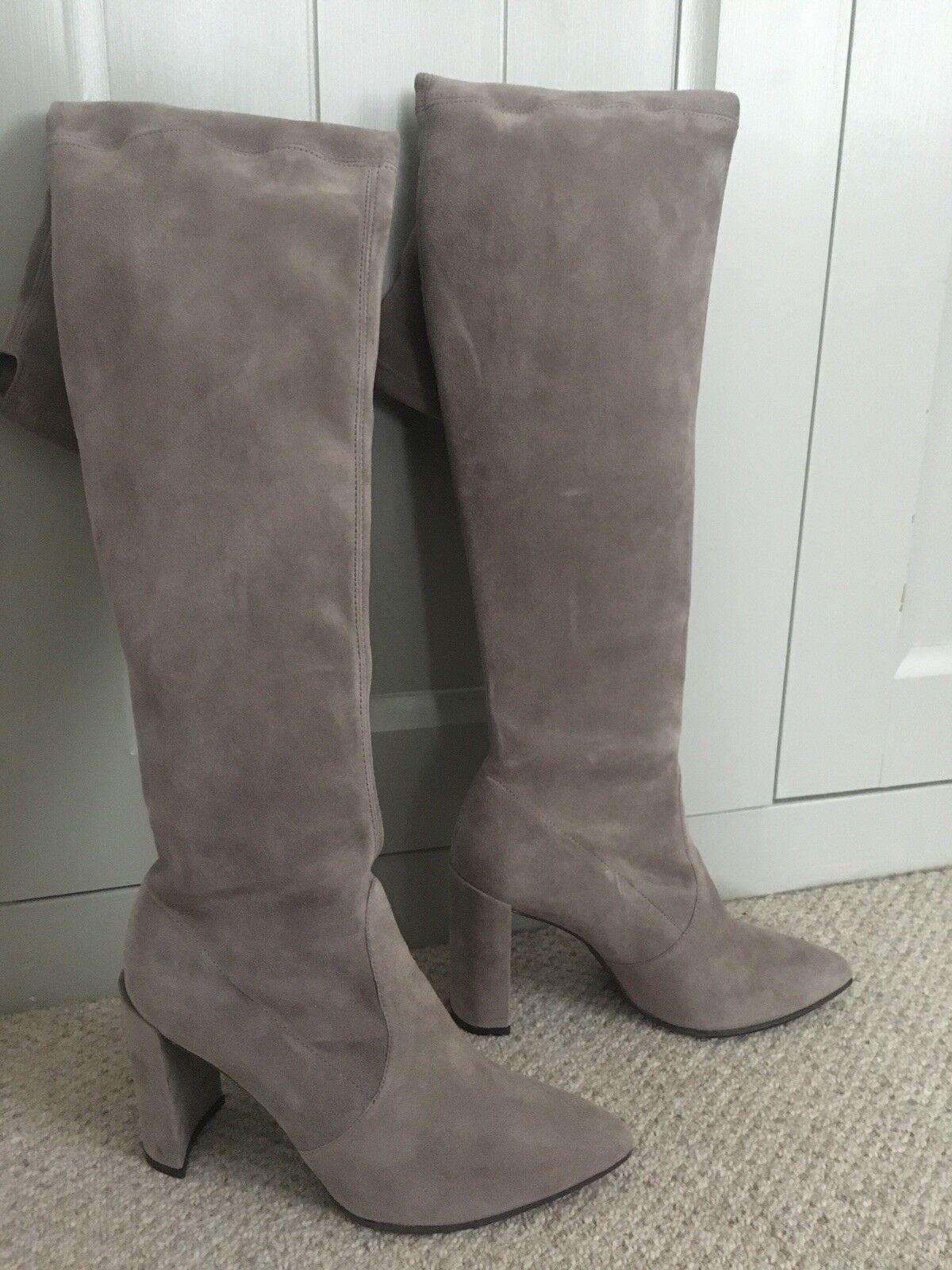 Gorgeous Stuart Weitzman Taupe Funland Boots Size 37.5 (Uk 5)