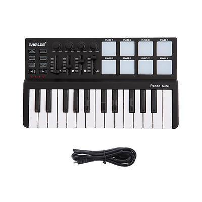 Worlde Panda Portable Mini 25-Key USB Keyboard and Drum Pad MIDI Controller 0G7B