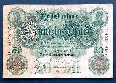 1904 German Empire 5 Mark Banknote Well Circulated