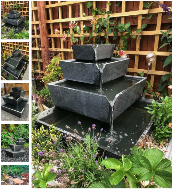 Cascading terraced bowls water feature