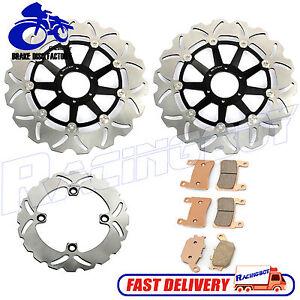 Front-Rear-Brake-Disc-Rotor-Brake-Pads-For-Honda-CBR900RR-SC33-Fireblade-98-99