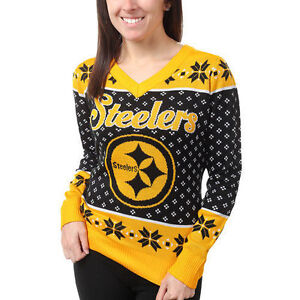Details about Pittsburgh Steelers Women's Black Big Logo V Neck UGLY Christmas Sweater NEW