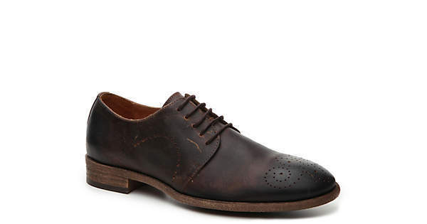 297 ROBERT WAYNE Uomo BROWN LEATHER OXFORD CASUAL LACE UP DRESS SHOES SIZE 9.5