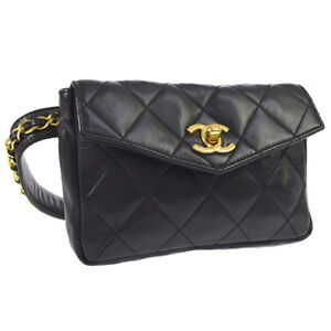 189d01eefc79 Auth CHANEL Quilted CC Chain Belt Waist Bum Bag Black Leather ...