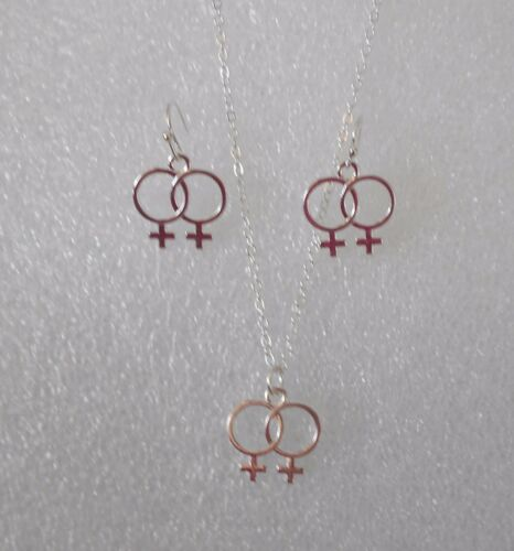 Necklace and Earrings Clip Option Double Venus Jewellery Lesbian Gay Pride