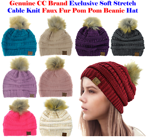 New! CC Brand Exclusive Soft Stretch Cable Knit Faux Fur Pom Pom CC ... 5b5d605d23cd