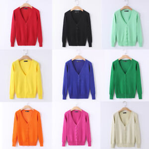 Women-Spring-Knitted-Button-Down-Cardigan-Sweater-Coat-Jacket-Tops-Short-Outwear