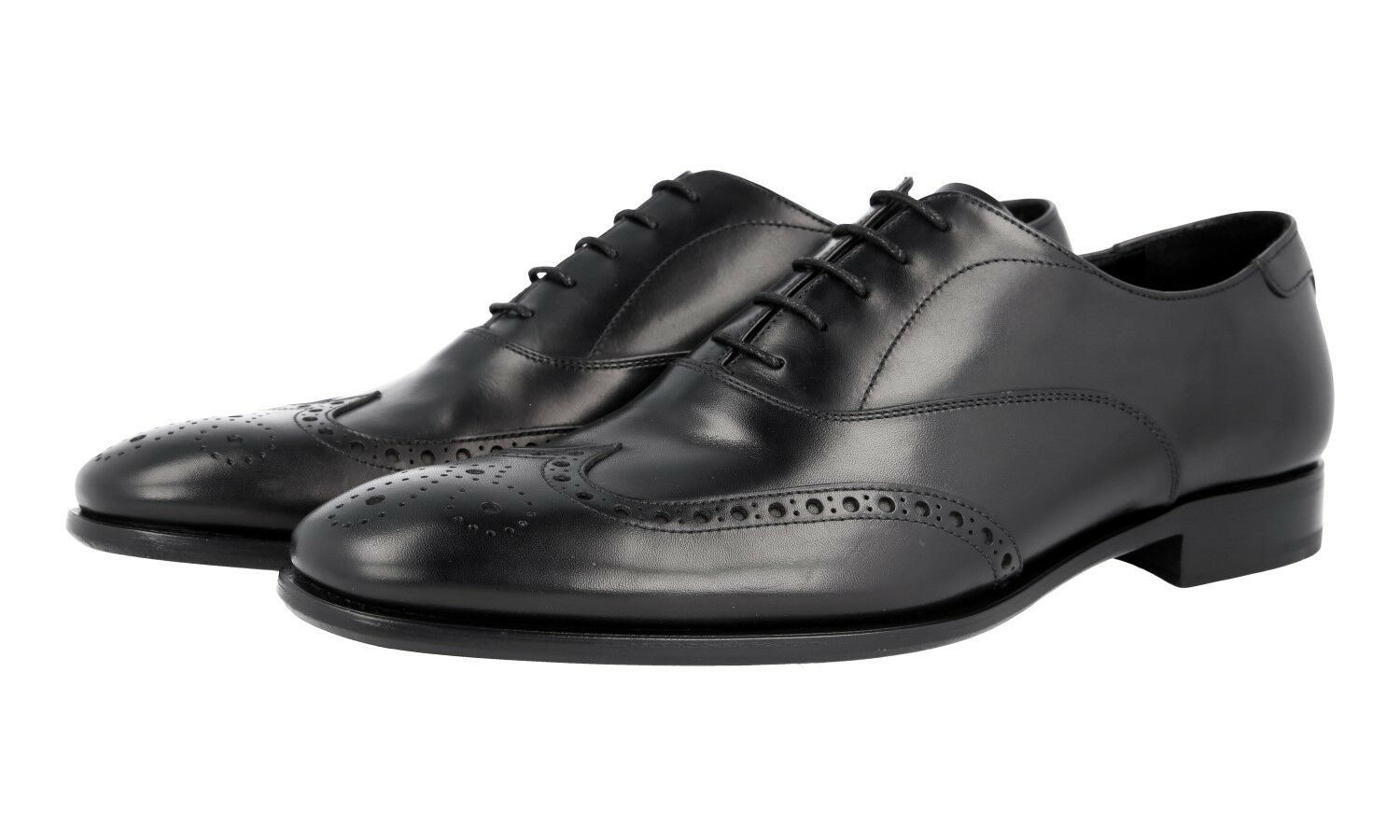 AUTH LUXURY PRADA FULL BROGUE OXFORD SHOES 2EB157 BLACK US 9.5 EU 42,5 43