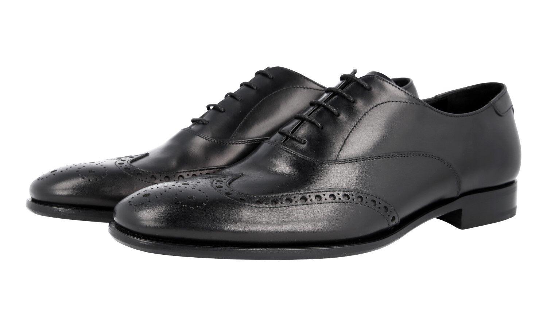 AUTH LUXURY PRADA FULL BROGUE OXFORD scarpe 2EB157 nero US 8.5 EU 41,5 42