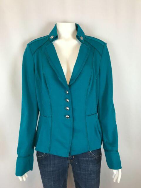 White House Black Market Womens Blazer Size 12 Teal Button Collared Jacket