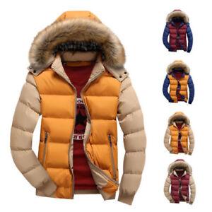 Men-039-s-Winter-Warm-Coat-Parka-Hooded-Fur-Collar-Jacket-Fashion-Overcoat-Outwear