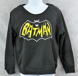 Batman-Juniors-Womens-Fleece-Sweatshirt-New-Black-DC-Comics-Officially-Licensed