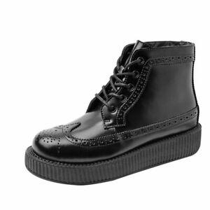 T.U.K. Shoes Black Brogue Viva Low Sole Creeper Boot