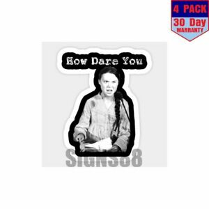 Greta Thunberg How Dare You 4 pack 4x4 Inch Sticker Decal ...