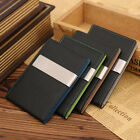 New Mens PU Leather Silver Money Clip Bifold Slim Wallet ID Credit Card Holder