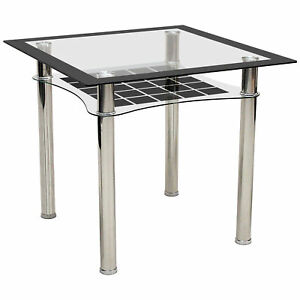 Image Is Loading Dining Kitchen Table Small Clear Black Gl Square