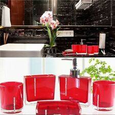 5PC/Set Acrylic Bathroom Accessories Bath Cup Bottle Toothbrush Holder Soap  Dish