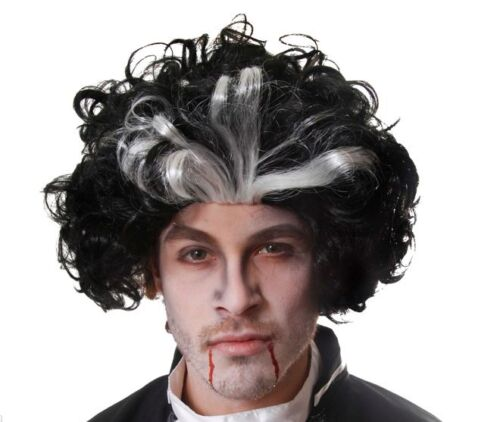 Black /& White Sweeney Todd Wig Halloween Dracula Vampire Fancy Dress Costume