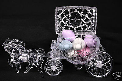 2 Clear Cinderella Coach Wedding Carriage Favor Party Cake Topper Decoration