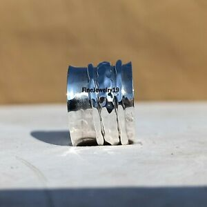 925-Sterling-Silver-Spinner-Ring-Wide-Band-Meditation-Statement-Jewelry-A413