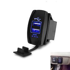 12V Car Motorcycle Boat Charger 2 Port Socket Plug Dual USB Power 3.1A Blue LED