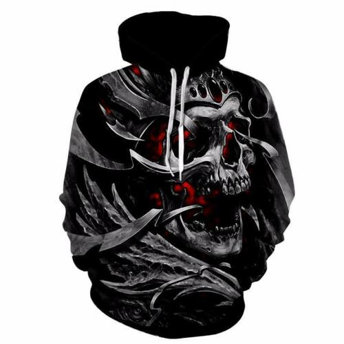 Rock Punk Flame Skull 3D Print Men Women Pullover Hoodie Sweatshirt Jumper Tops