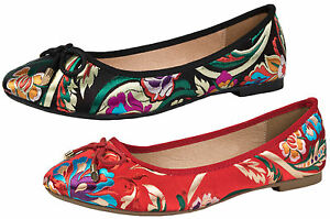 6953ff33d1eb Image is loading Womens-Oriental-Satin-Ballet-Shoes-Embroidered-Ballerinas -Dolly-