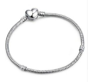 Silver-Snake-Chain-Bracelet-with-SILVER-HEART-CLASP-Charm-Snake