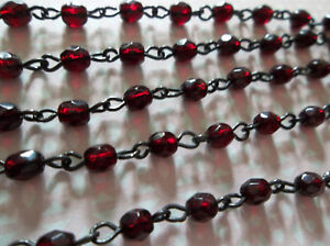 """Gold Rosary Chain Glass Beads 4mm Turquoise Bead Chain Qty 18/"""" strand"""