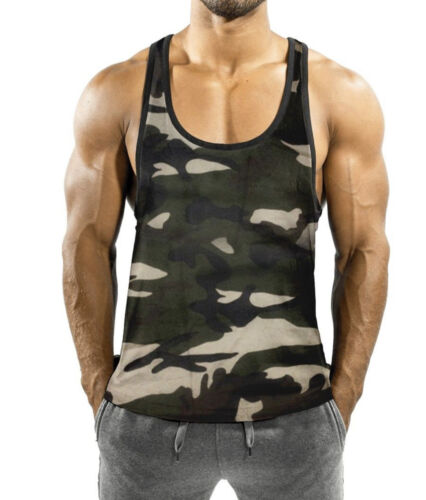 Details about  /Men/'s Vest Green Grey Camouflage Gym Sport/'s Fitness Summer Fashion Bodybuilding