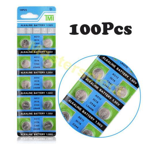 100 Piles batterie Bouton AG 13 AG13,LR44,357,SR44,A76 Alcaline