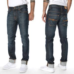 Nudie-Herren-Slim-Fit-Stretch-Jeans-Hose-Thin-Finn-Cold-Denim-Vintage-Blue