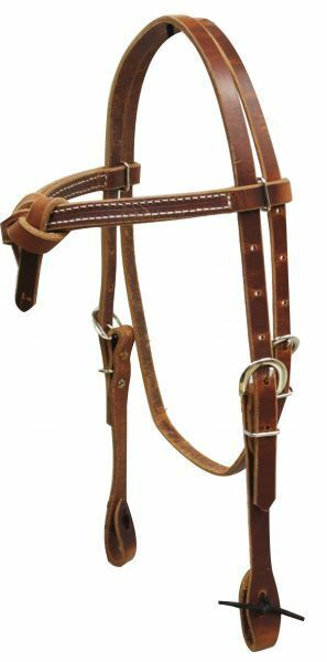 Futurity Knot HEADSTALL Adjustable HARNESS LEATHER  with Tie Ends Made in USA