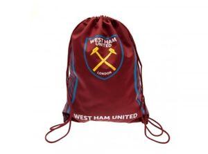 West Ham Football Club Official Maroon Swerve Design Gym Bag Crest ... 8d957ebbd5f47