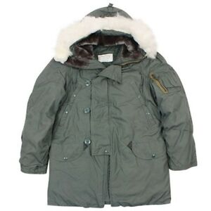 Genuine-US-Military-Issue-N3B-Parka-Nylon-Cotton-Size-L-Synthetic-Fur-Hood