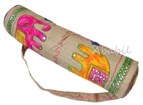 Indian Handmade Jute Elephant Embroidered Yoga Mat Bag Handmade Adjustable Strap