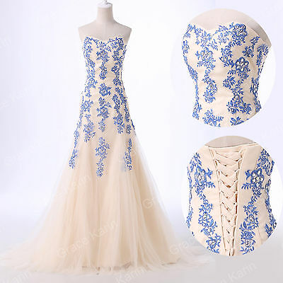 NEW Vintage Long Formal Evening Party Gown Bridesmaid Prom Graduation LACE Dress