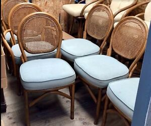 Image Is Loading Vintage Rattan Cane Dining Set 6 Chairs Table