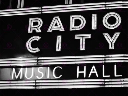 PHOTO PAINTING MUSIC CITY RADIO HALL NEW YORK SIGN LARGE ART PRINT POSTER LF1691