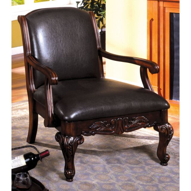 Leather Antique Accent Chair Living Room Solid Wood Vintage Furniture Home  Decor - Vintage Leather Antique Accent Chair Living Room Solid Wood