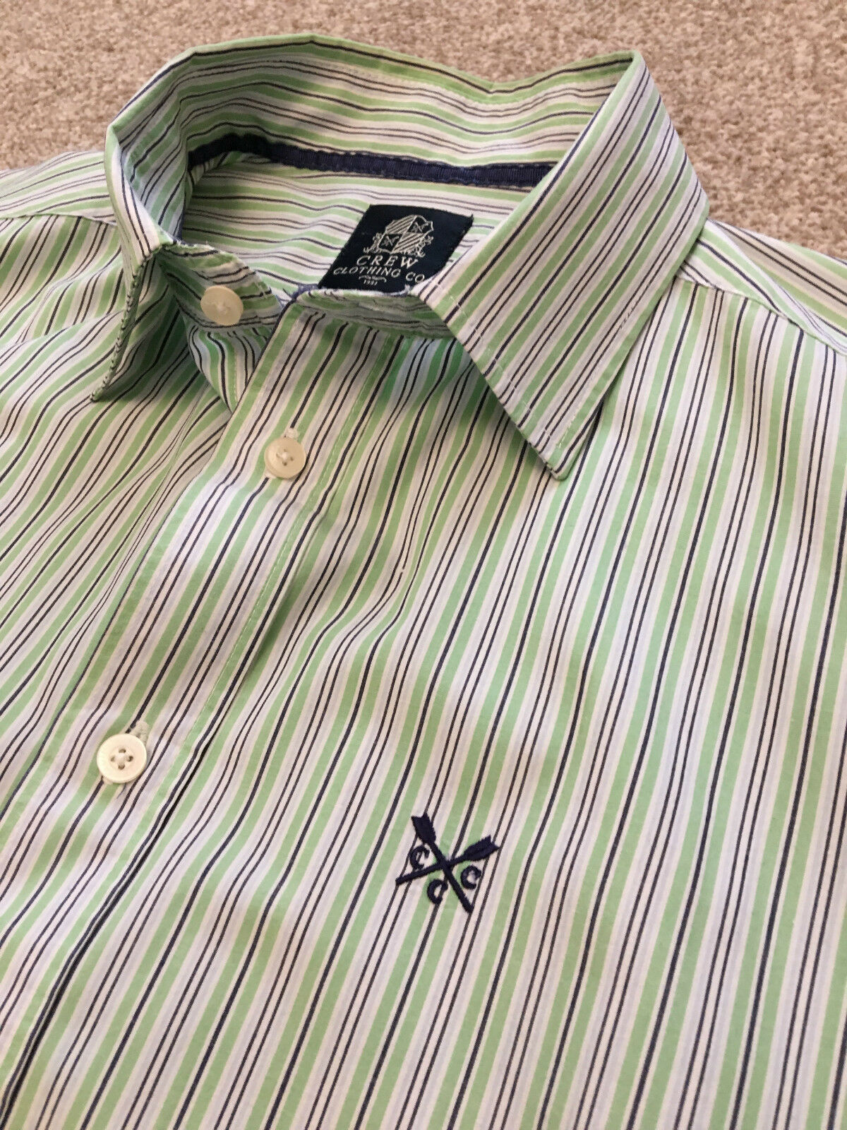 GORGEOUS CREW CLOTHING GREEN   NAVY STRIPE CLASSIC FIT SHIRT L LARGE COST