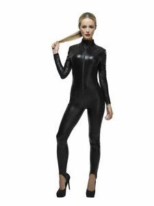 Schwarzer Damen Catsuit Wetlook Polizistin Katze Catwoman Overall kinky sexy
