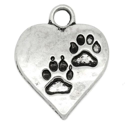 20 Charm Anhänger Antik Silber Gravur Hundpfote Herz Form 17mm x 14mm