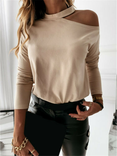 Women Basic Blouse Tops T Shirt Undershirt Cold Shoulder Sweatshirt Long Sleeve